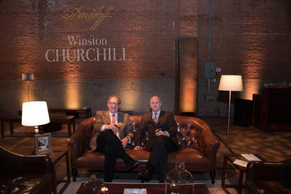 Davidoff Winston Churchill Event New York, CEO Hans-Kristian Hoejsgaard and Randolph Churchill, Photo credit: Sandra Hamburg (PRNewsFoto/Davidoff Cigars)