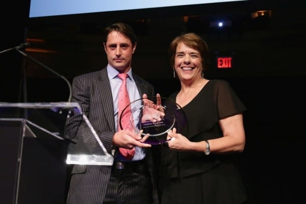 NEW YORK, NY - JUNE 09:  Honoree Prince Lorenzo Borghese and President and CEO of Bideawee Nancy Taylor speak onstage during the Bideawee Masquerade Ball at Gotham Hall on June 9, 2014 in New York City.  (Photo by Neilson Barnard/Getty Images for Bideawee)