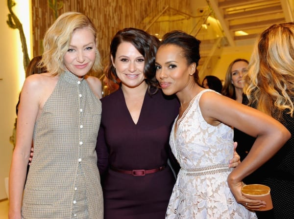 BEVERLY HILLS, CA - NOVEMBER 14: (L-R) Actresses Portia de Rossi, Katie Lowes, wearing MaxMara, and Kerry Washington attend 'MaxMara & Allure Celebrate ABC's #TGIT' at MaxMara on November 14, 2015 in Beverly Hills, California. (Photo by Donato Sardella/Getty Images for Max Mara)