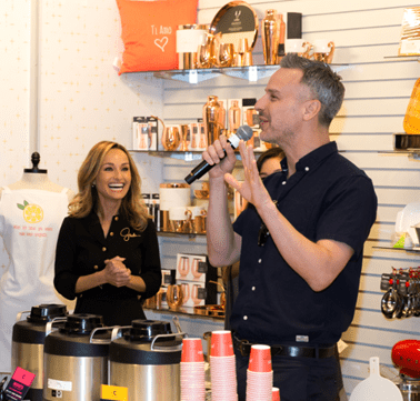 Giada De Laurentiis and Bon Appetit Editor-in-Chief Adam Rapoport welcome guests to the Coffee & Cake event at Pronto by Giada. Photo Credit: Erik Kabik