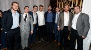 LAS VEGAS, NV - JANUARY 26: (L-R) Vegas Golden Knights players William Karlsson, Jonathan Marchessault and David Perron, television personality and chef Gordon Ramsay, and Knights players Deryk Engelland, Erik Haula, Oscar Lindberg and Brad Hunt attend the grand opening of the first-ever Gordon Ramsay HELL'S KITCHEN restaurant at Caesars Palace on January 26, 2018 in Las Vegas, Nevada. (Photo by Ethan Miller/Getty Images for Gordon Ramsay Hell's Kitchen Restaurant Caesars Palace Las Vegas)